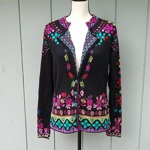 IVKO Floral 100% Wool Cardigan Sweater